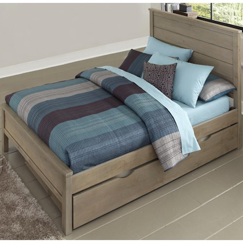 NE Kids Highlands Full Alex Bed with Flat Panel Headboard and Footboard and Under Bed Trundle