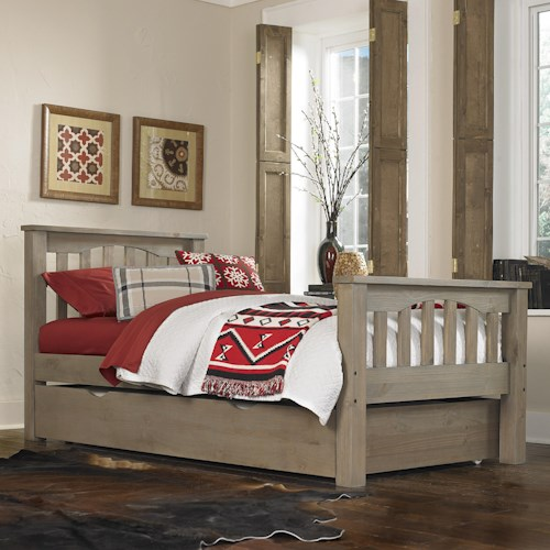NE Kids Highlands Mission Style Twin Harper Bed with Wide Plank Spindles and Under Bed Trundle