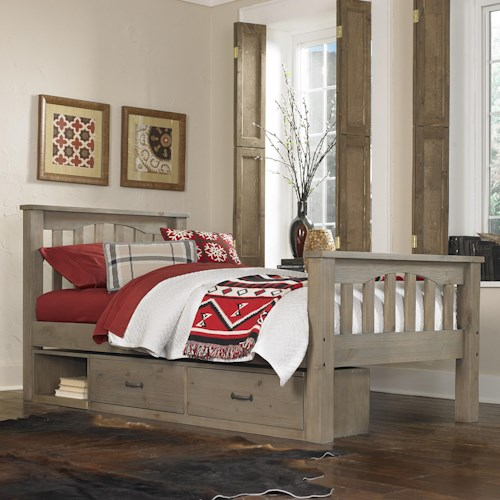 NE Kids Highlands Mission Style Twin Harper Bed with Wide Plank Spindles and Under Bed Storage