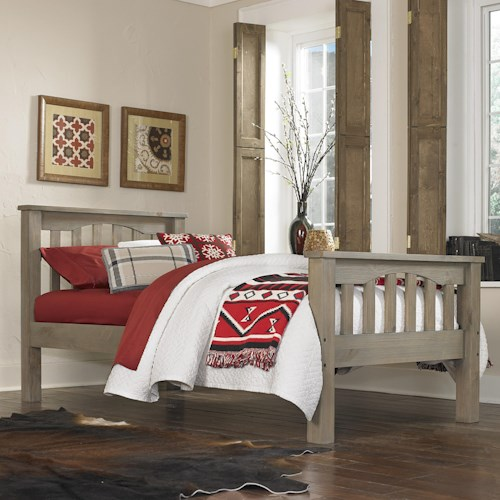 NE Kids Highlands Mission Style Twin Harper Bed with Wide Plank Spindles on Headboard and Footboard