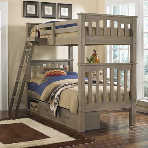 NE Kids Highlands Mission Style Twin Over Twin Harper Bunk Bed with Hanging Tray and Under Bed Storage