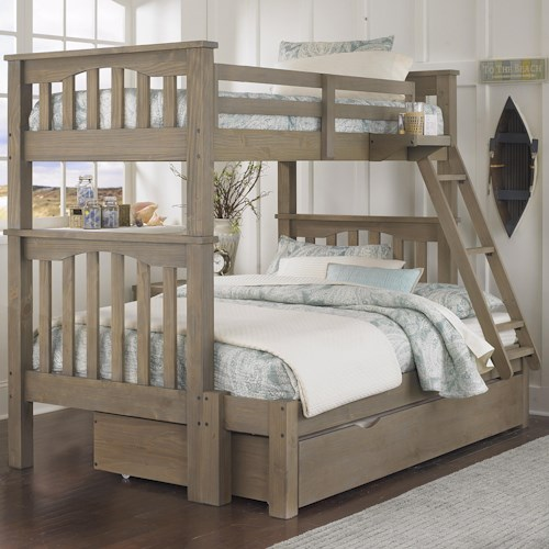 NE Kids Highlands Mission Style Twin Over Full Harper Bunk Bed with Hanging Tray and Under Bed Trundle