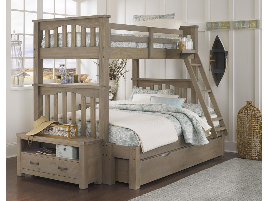 NE Kids HighlandsTwin Over Full Harper Bunk Bed With Trundle