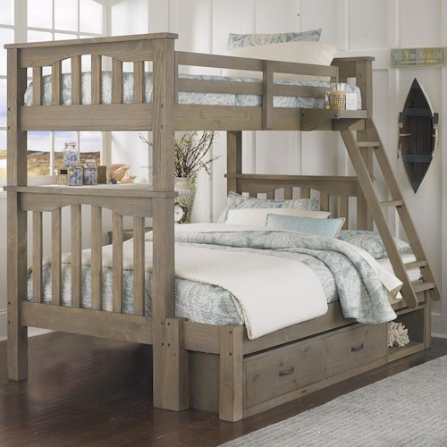NE Kids Highlands Mission Style Twin Over Full Harper Bunk Bed with Hanging Tray and Under Bed Storage