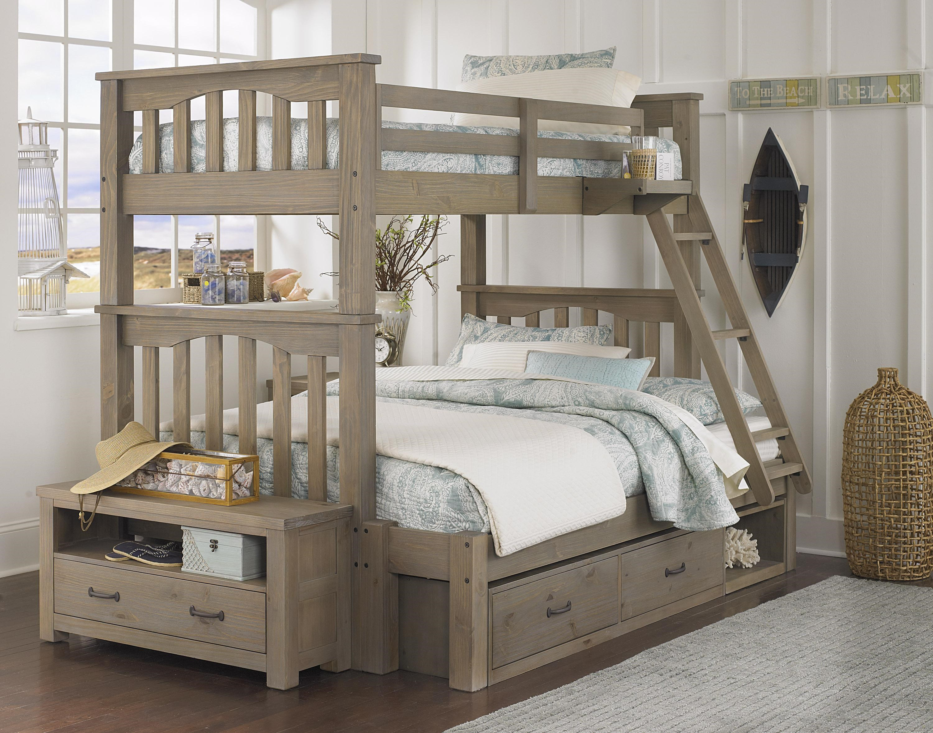 Ne Kids Highlands Mission Style Twin Over Full Bunk Bed With Hanging Tray And Under Bed Storage Wayside Furniture Bunk Beds