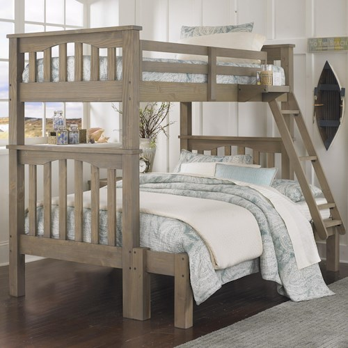 NE Kids Highlands Mission Style Twin Over Full Harper Bunk Bed with Hanging Tray