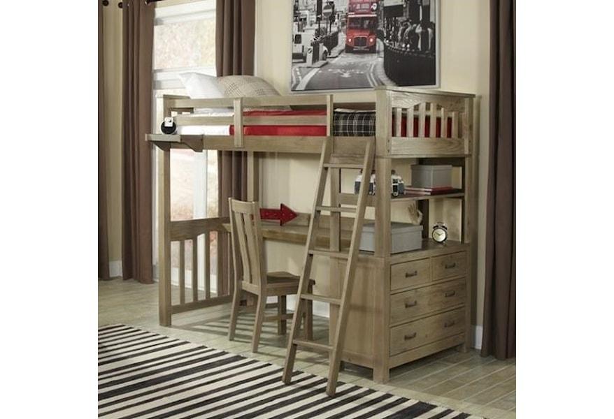 Ne Kids Highlands Mission Style Twin Loft Bed With Desk Belfort Furniture Loft Beds