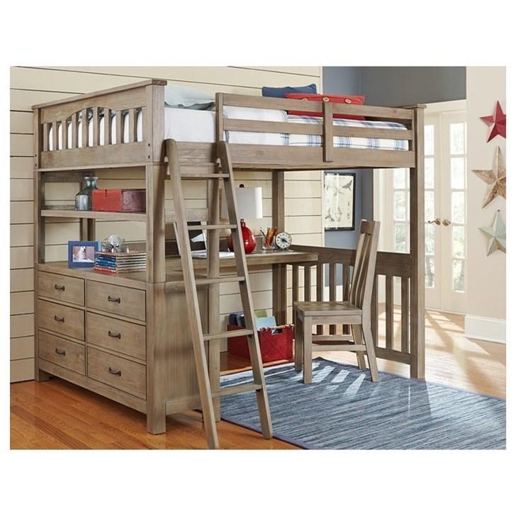 Picture of: Ne Kids Highlands Mission Style Full Bed With Desk Wayside Furniture Loft Beds