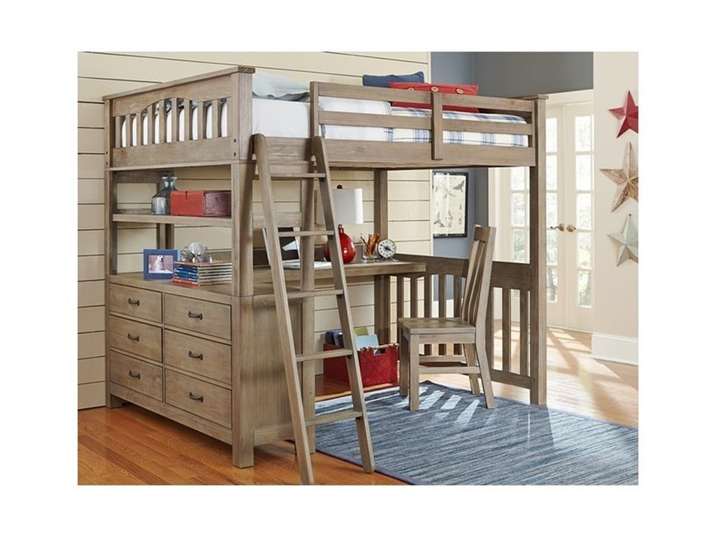 NE Kids HighlandsFull Loft Bed with Desk