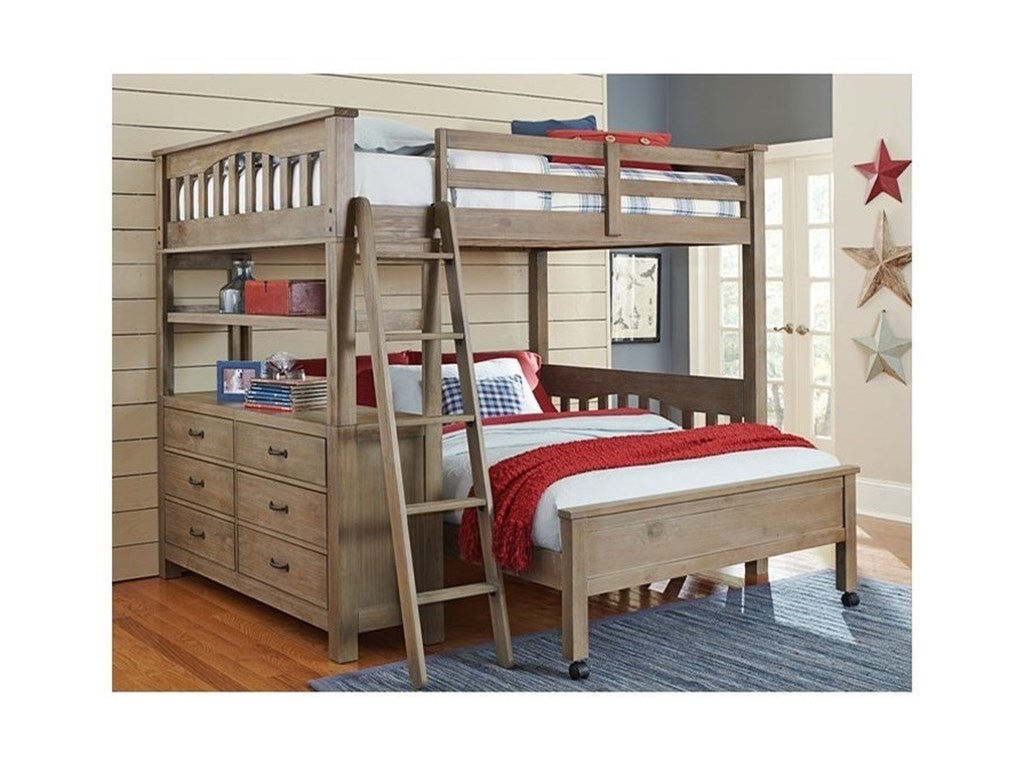 NE Kids HighlandsTwin Loft Bed with Lower Bed