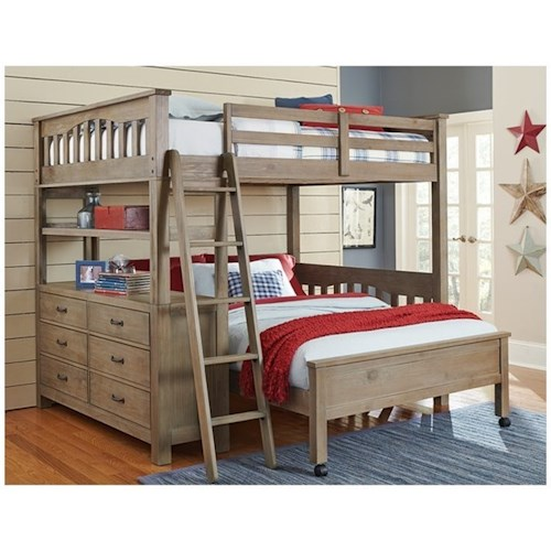 NE Kids Highlands Mission Style Twin Bed with Lower Bed