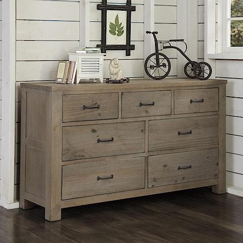 NE Kids Highlands Transitional 7 Drawer Dresser with Driftwood Finish and Dark Metal Drawer Pulls