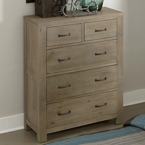 NE Kids Highlands Transitional 5 Drawer Chest of Drawers With Dark Metal Drawer Pulls