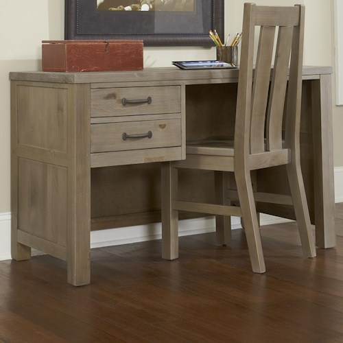 NE Kids Highlands Youth 2 Drawer Shell Desk with Driftwood Finish and Dark Metal Drawer Pulls