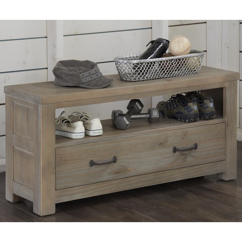NE Kids Highlands Youth Dressing Bench With Drawer and Shelf