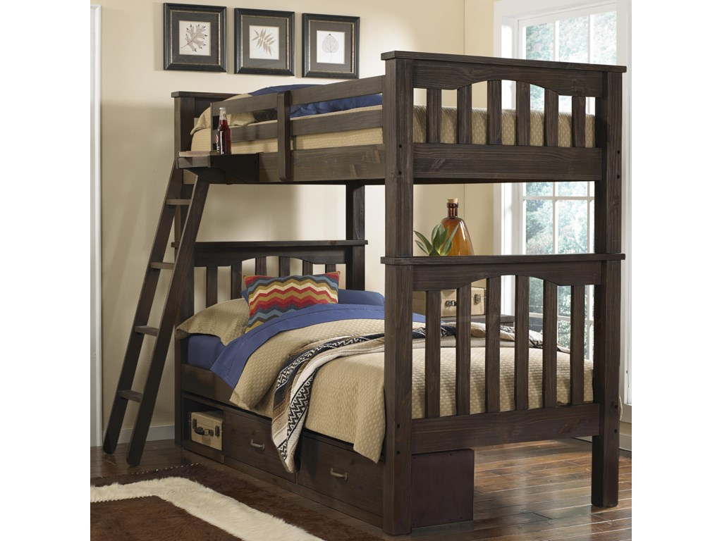 NE Kids HighlandsTwin Over Twin Harper Bunk Bed With Storage