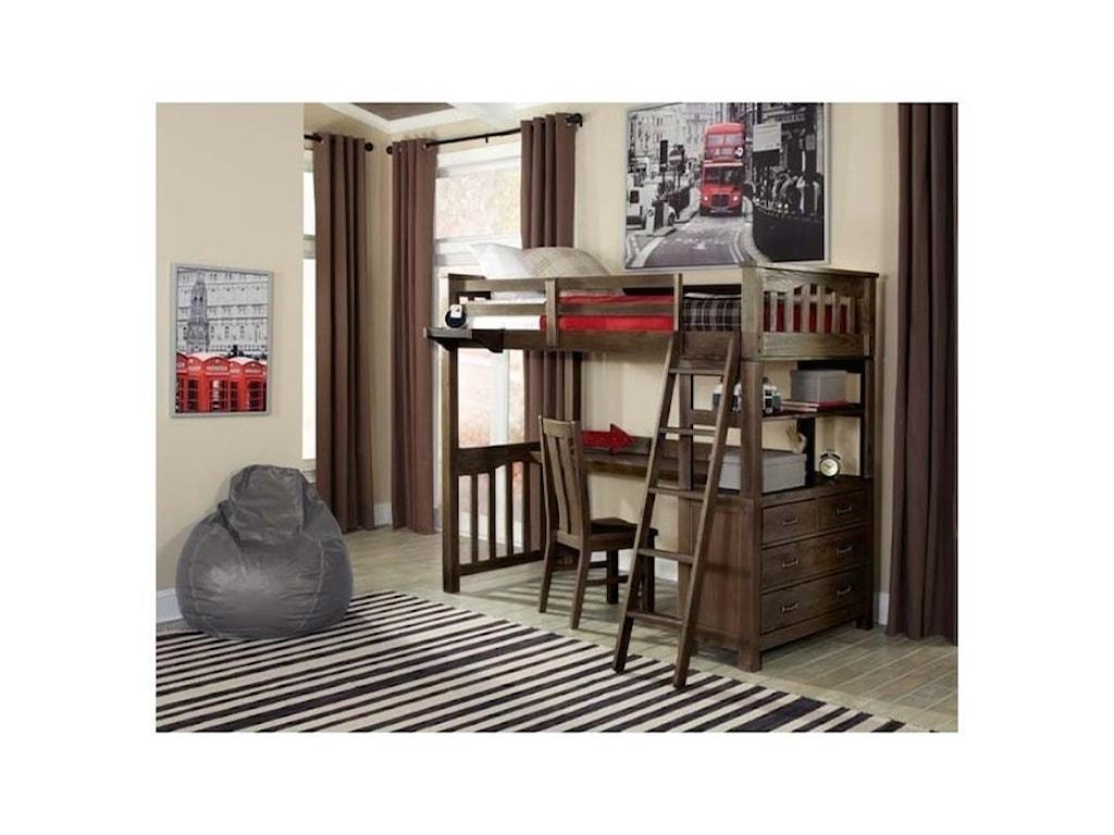 NE Kids HighlandsTwin Loft Bed with Desk