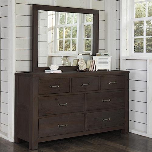 NE Kids Highlands 7 Drawer Dresser and Mirror Combination