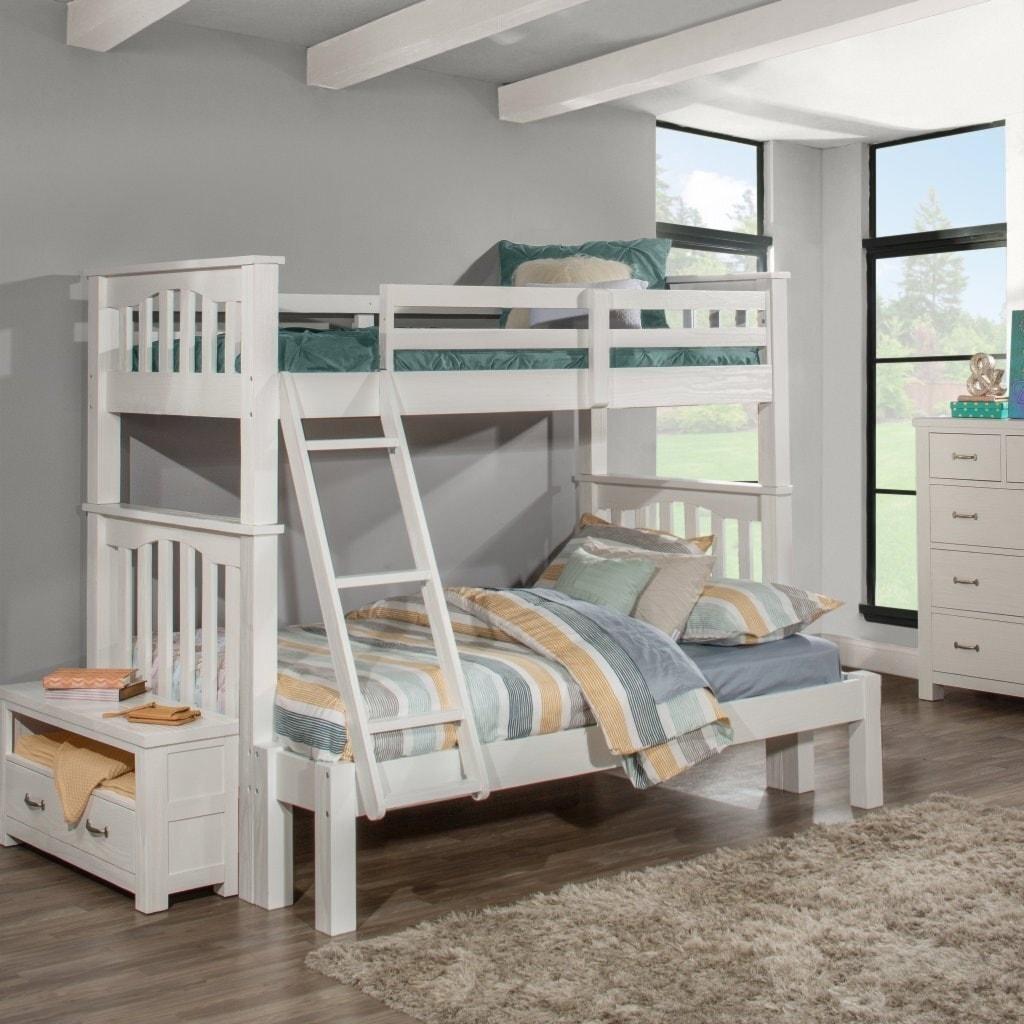 White Finish NE Kids Highlands Full Over Full Bunk Bed