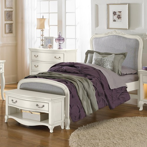 NE Kids Kensington Twin Upholstered Katherine Bed with Scroll Carvings