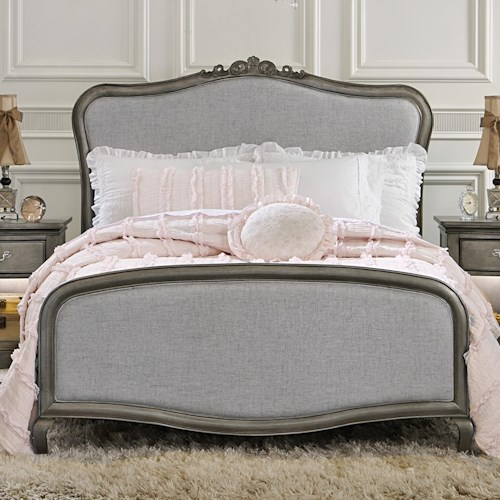 NE Kids Kensington Full Upholstered Katherine Bed with Scroll Carvings