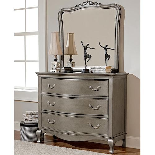 NE Kids Kensington Single Dresser and Mirror Set with 3 Drawers