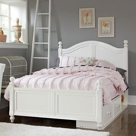 NE Kids Lake House Full Bed with Arched Headboard and Underneath Storage