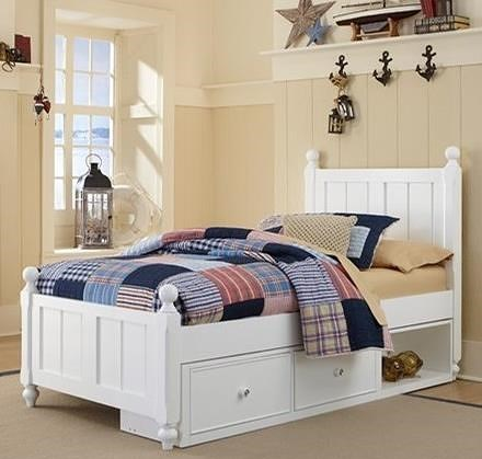 NE Kids Lake House Twin Panel Bed with Chamfered Posts, Ball Finials and Underneath Storage