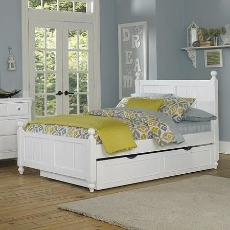 NE Kids Lake House Full Twin Panel Bed with with Chamfered Posts, Ball Finials and Trundle