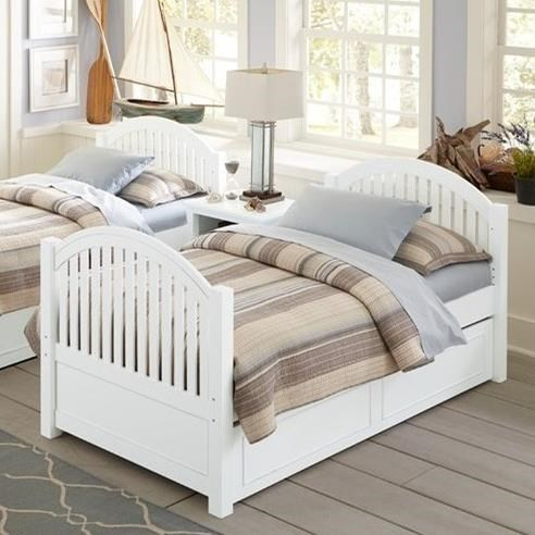 Picture of: Ne Kids Lake House Twin Bed With Arched Headboard And Footboard And Trundle Wayside Furniture Panel Beds