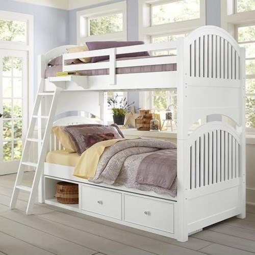 NE Kids Lake House Twin Bunk Bed with Arched Headboard and Footboard and Underneath Storage