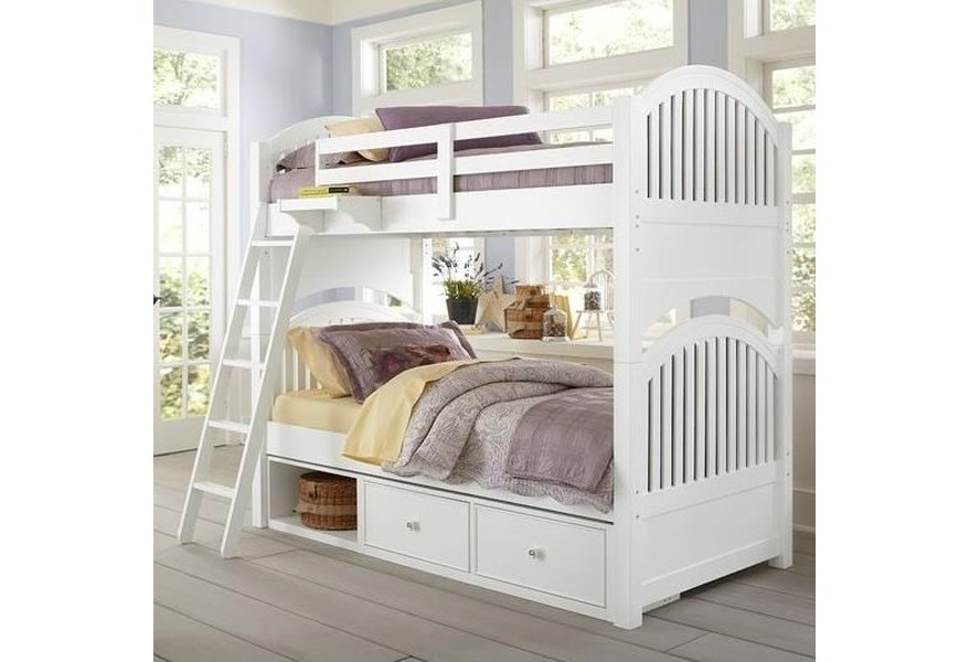 Ne Kids Lake House 1031n 1580 Twin Bunk Bed With Arched Headboard And Footboard And Underneath Storage O Dunk O Bright Furniture Bunk Beds