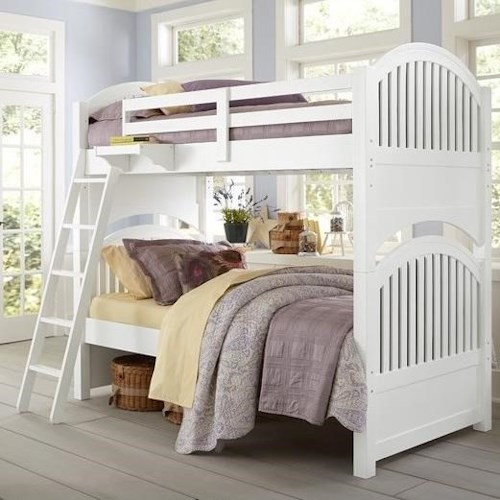 NE Kids Lake House Twin over Twin Bunk Bed with Arched Headboard and Footboard
