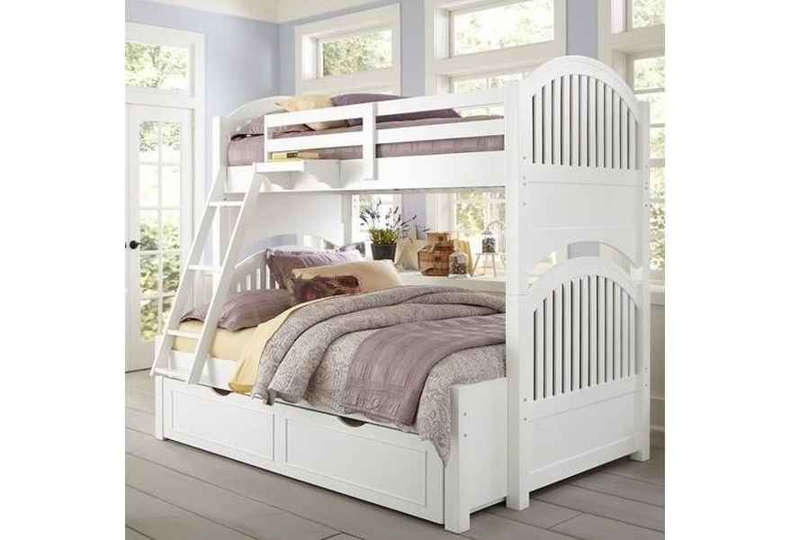 Ne Kids Lake House 1035n 1570 Twin Over Full Bunk Bed With Arched Headboard And Footboard And Trundle Dunk Bright Furniture Bunk Beds