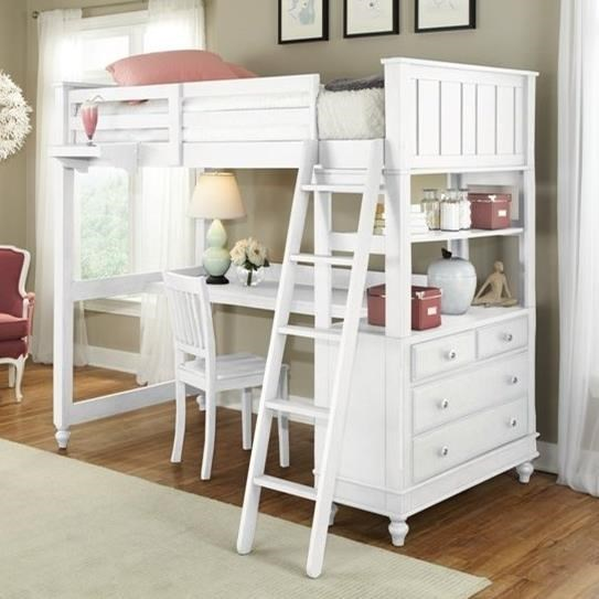 NE Kids Lake House 1040ND Twin Loft Bed with Desk and Chest | Dunk