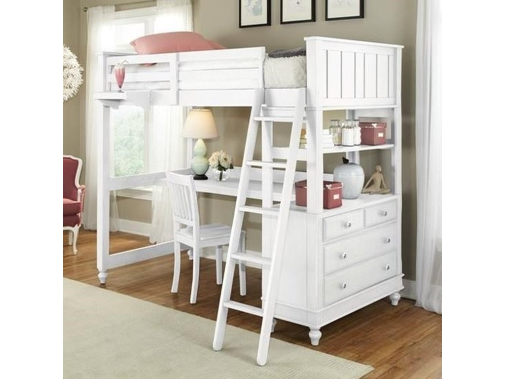 Ne Kids Lake House Twin Loft Bed With Desk And Chest Wayside