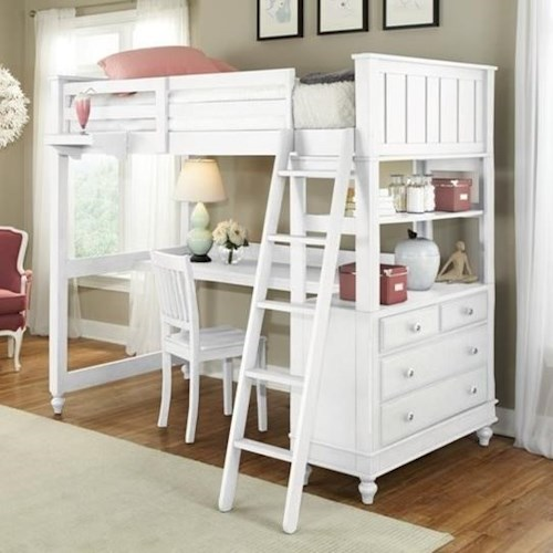 Ne Kids Lake House Twin Loft Bed With Desk And Chest