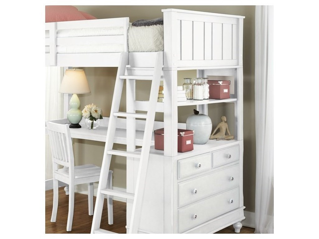 NE Kids Lake HouseTwin Loft Bed with Desk