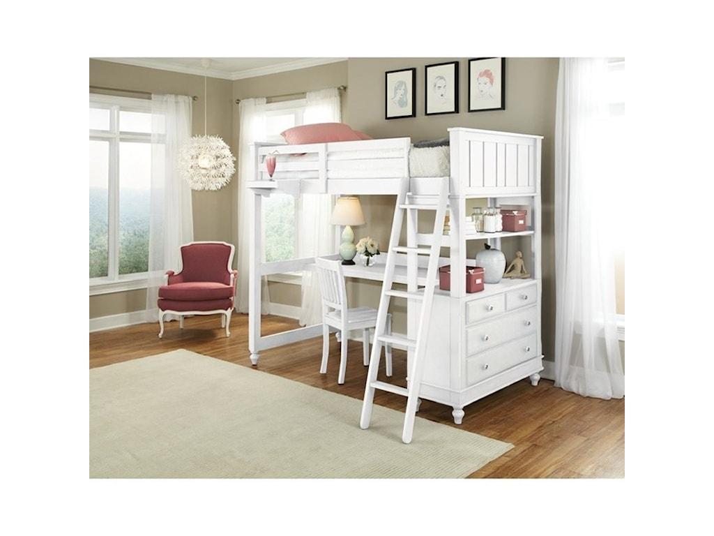 NE Kids Lake HouseFull Loft Bed with Desk