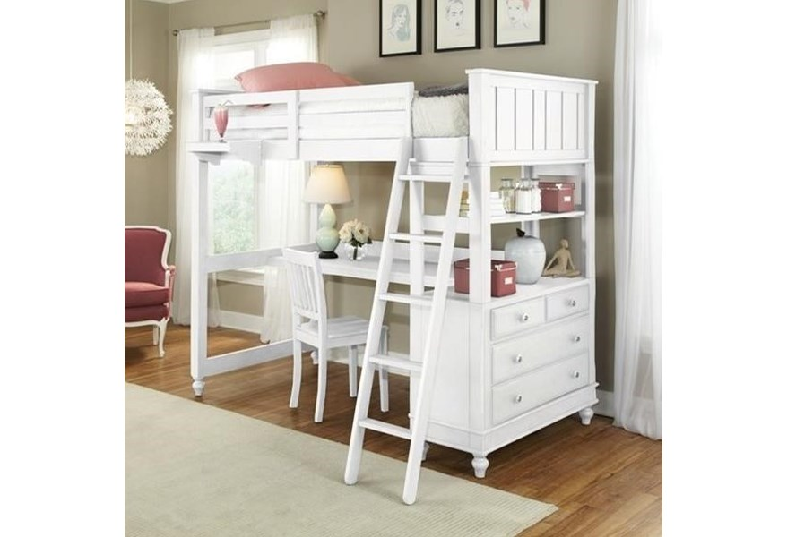 Ne Kids Lake House 1045nd Full Loft Bed With Desk And Dresser O Dunk O Bright Furniture Loft Beds