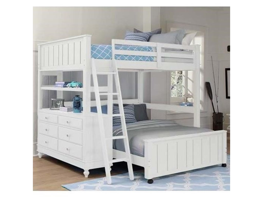 NE Kids Lake HouseLofted Full Bed with Full Lower Bed