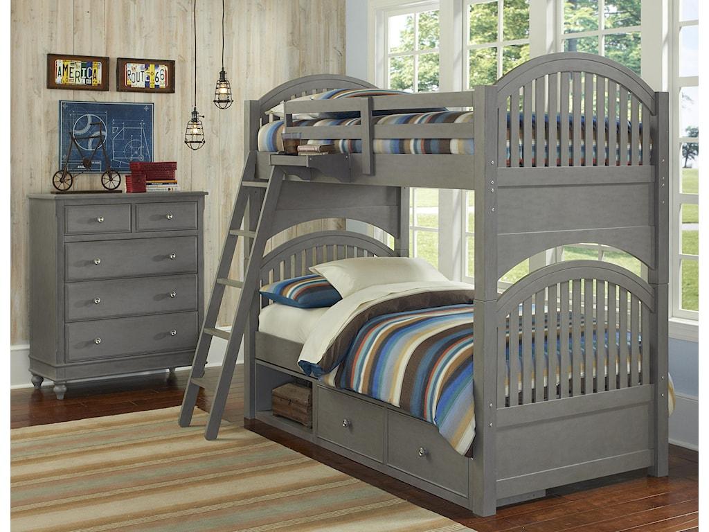 NE Kids Lake HouseTwin Storage Bunk Bed
