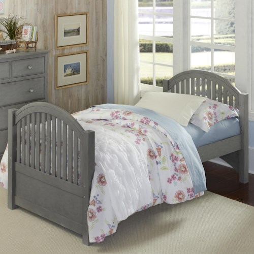 NE Kids Lake House Twin Bed with Arched Headboard and Footboard
