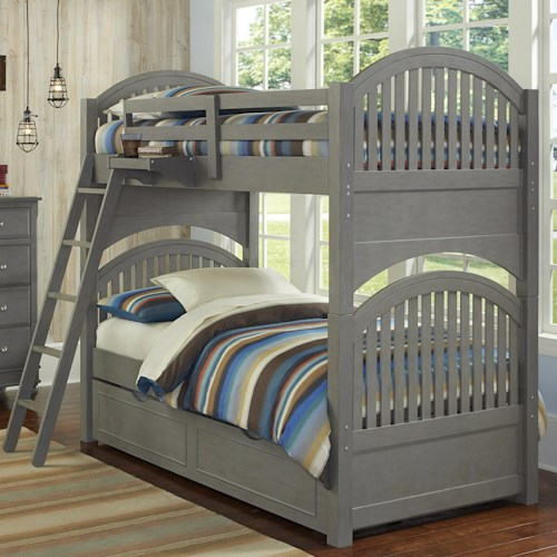 NE Kids Lake House Twin Bunk Bed with Arched Headboard and Footboard and Trundle