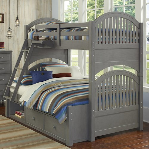 NE Kids Lake House Twin Over Full Bunk Bed with Arched Headboard and Footboard and Underneath Storage