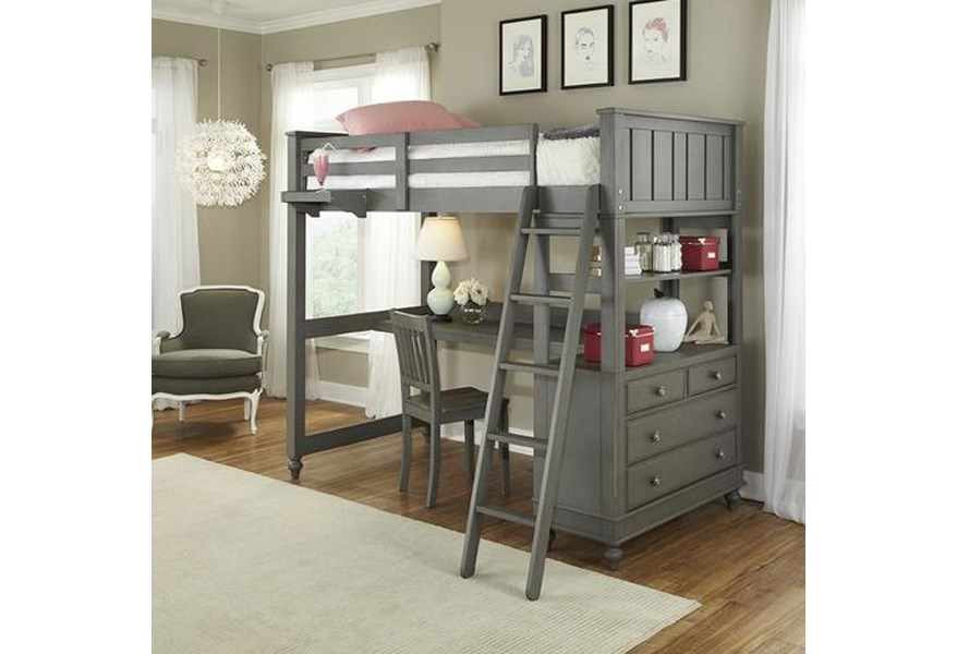 Ne Kids Lake House Twin Loft Bed With Desk And Chest Belfort