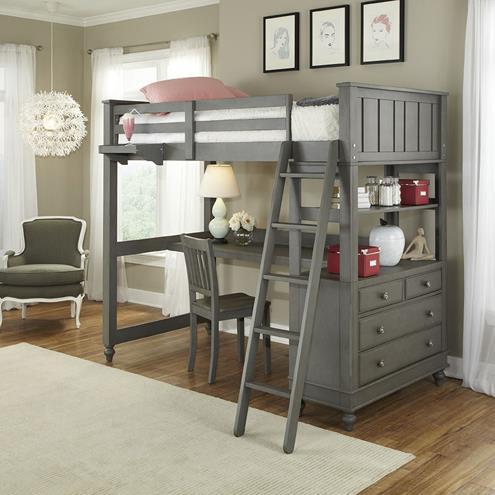 NE Kids Lake HouseTwin Loft Bed With Desk