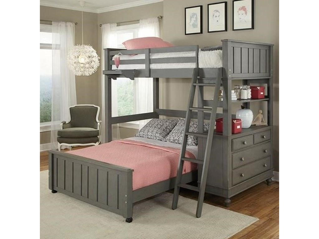 Hillsdale Kids Lake HouseLofted Bed with Full Lower Bed