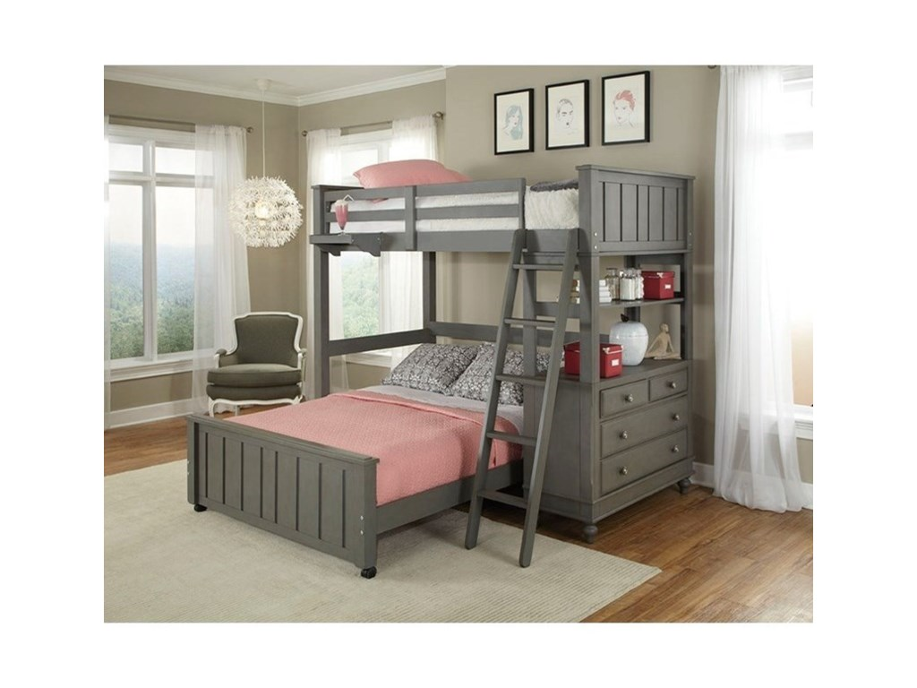 NE Kids Lake HouseLofted Bed with Full Lower Bed