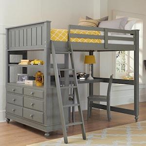 Ne Kids Lake House 2045nd Full Loft Bed With Desk And Dresser Dunk Bright Furniture Loft Beds